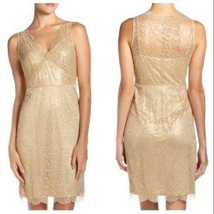 BCBG Lynette gold lace dress
